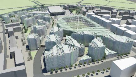 """Pavasarį urbanistinį-architektūrinį konkursą laimėjusi S.Kuncevičiaus architektūros studija (S.Kuncevičius, M.Dagys, L.Kuncevičienė, V.Kuncevičiūtė, Ž.Gudelis, A.Kuncevičiūtė) parengė Sporto rūmų ir """"Žalgirio"""" stadiono teritorijos plėtros koncepciją, pagal kurią SĮ """"Vilniaus planas"""" jau ruošia detalųjį planą"""