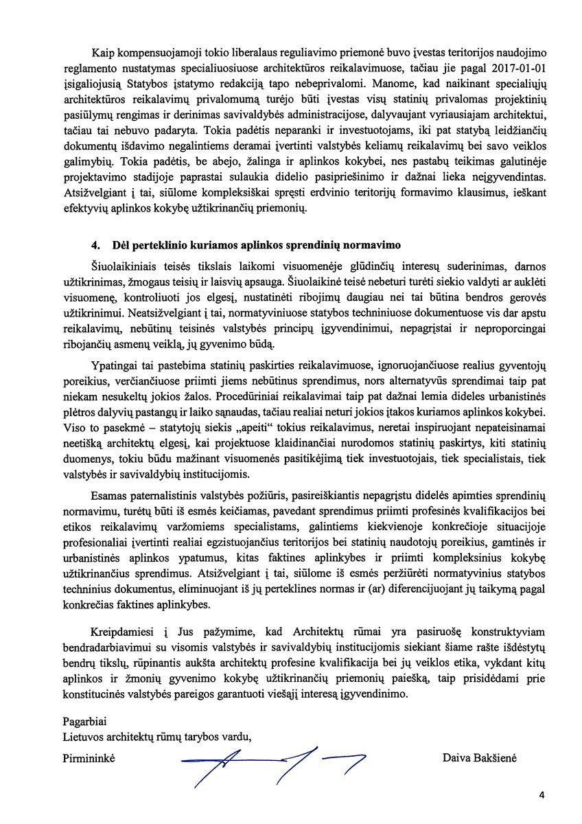 Lietuvos Architektų rūmai naujosios valdžios struktūroms išplatino raštą dėl aplinkos formavimo problemų.