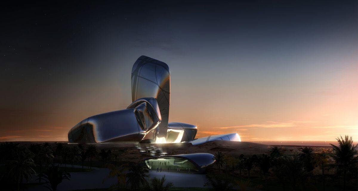 """Karaliaus Abdulazizo centro pastatas – vertikaliu segmentu viduryje akcentuota milžiniškų """"akmenų"""" architektūrinė kompozicija. Pav.: """"Snohetta"""""""