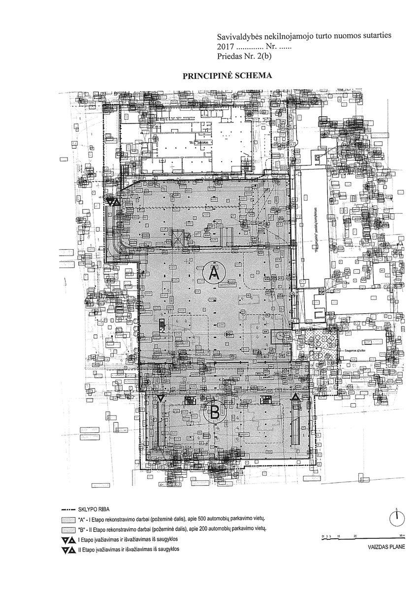 Požeminis parkingas bus projektuojamas dviem etapais: A ir B. Sutarties priedas.