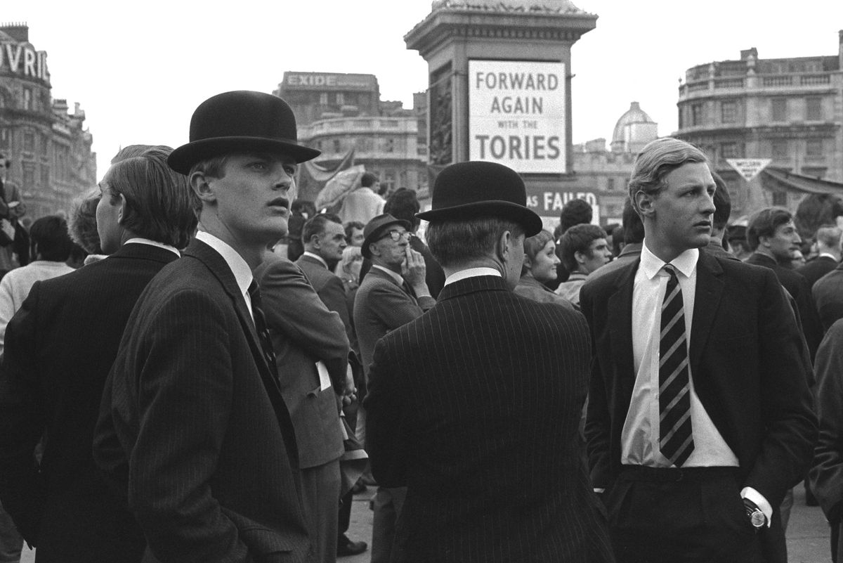 Trafalgar Square, London. 1968 Young Conservative at a Forward Again with the Tories rally. Harold Wilson the Labour party leader had been in power for the previous two years.