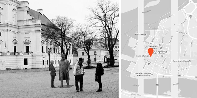 J.Vileišio skulptūra Rotušės aikštėje, pav.: Kauno savivaldybė