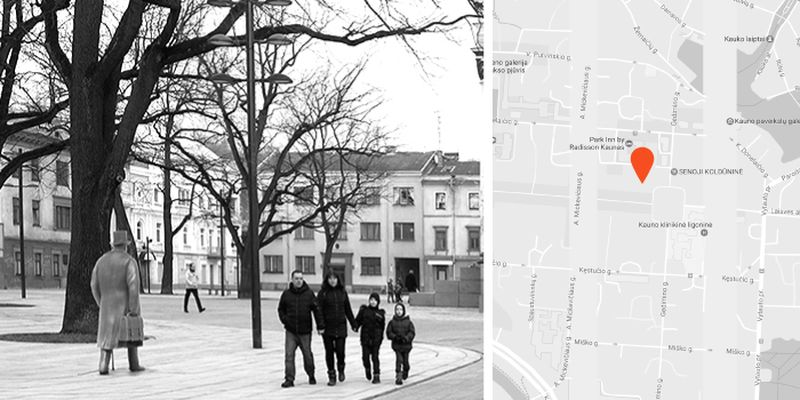 J.Vileišio skulptūra Nepriklausomybės aikštėje, pav.: Kauno savivaldybė