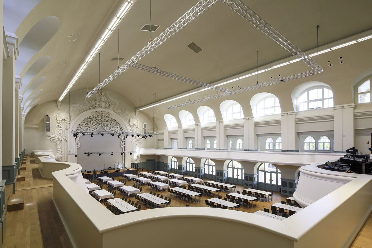 Leipcigo kongresų salė po rekonstrukcijos. Projektas: HPP Hentrich-Petschnigg & Partner GmbH