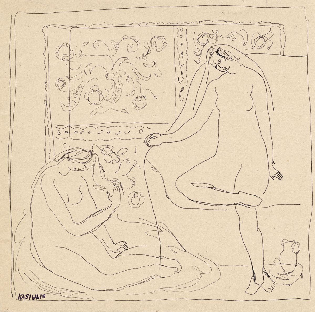 Dvi moterys (kompozicijos fragmentas), V.Kasiulis, 1948.