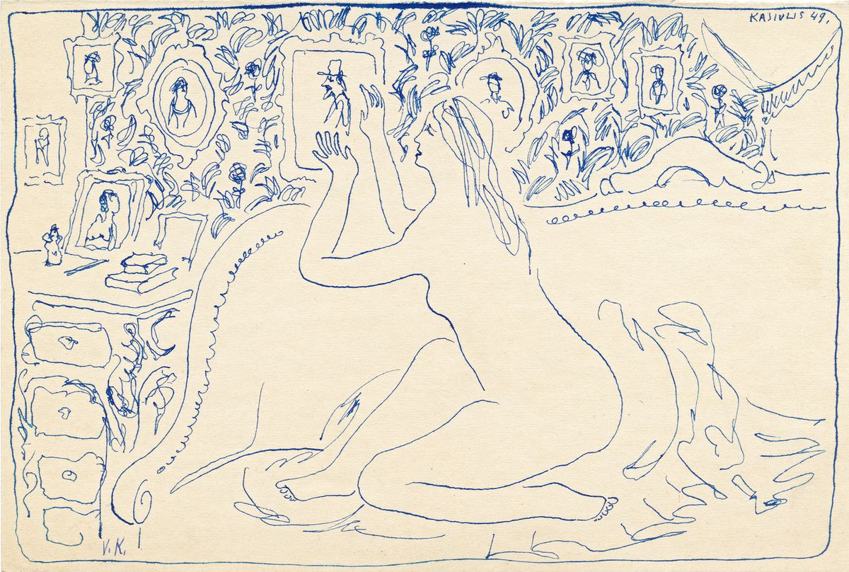Sėdinčios moters aktas, V.Kasiulis, 1949