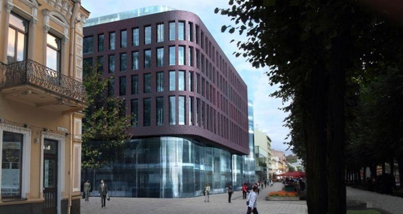 """Buvusio """"Merkurijaus"""" vietoje """"Homburg"""" planavo 33.000 m² ploto daugiafunkcinis centras (Arch. E.Miliūno studija, A.Kančo studija; 2011 m.)"""