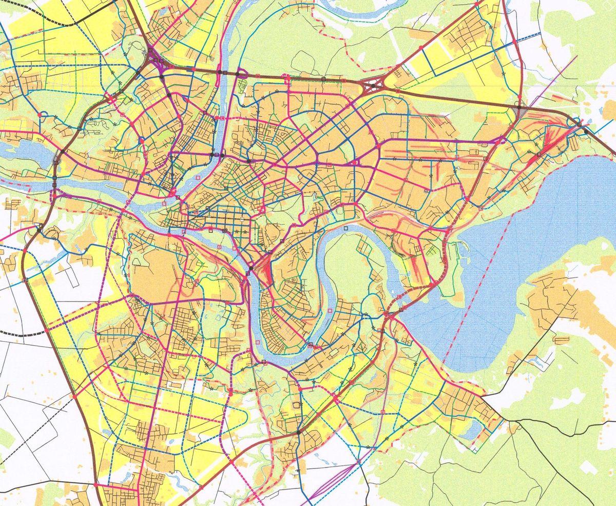 Kauno miesto susisiekimo tinklas (Bendrojo plano ištrauka).