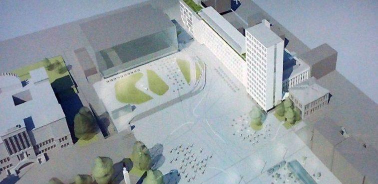 Projekto autorius auditorijai prisipažino, kad nelabai žino, ko iš aikštės nori miestiečiai. Vienybės aikštė (arch. R.Giedraitis)