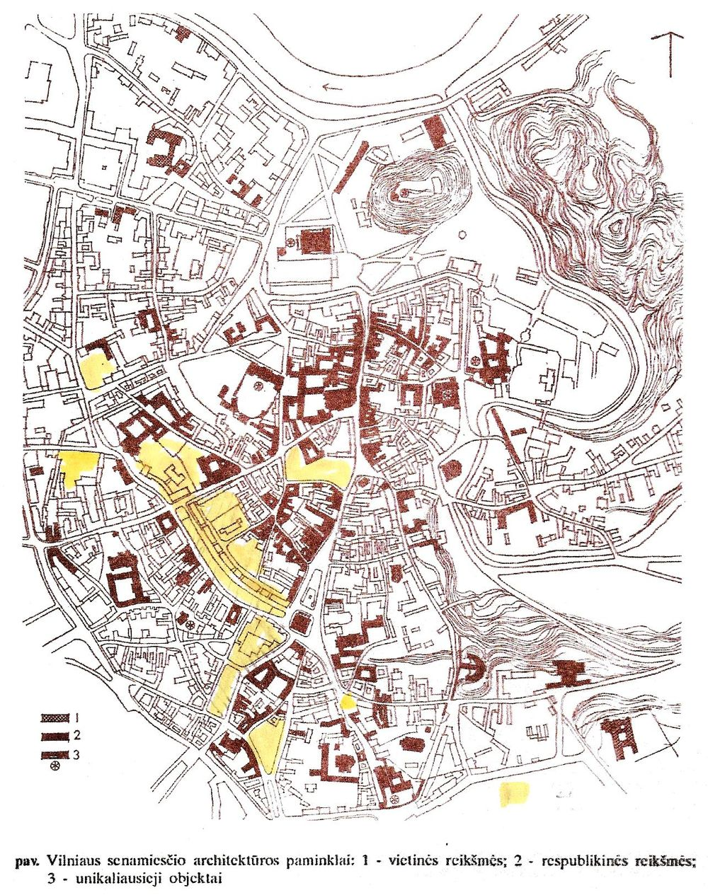 """Vytauto Jurkšto tyrimų rezultatai iš knygos """"Senamiesčių regeneracija. Architektūros harmonizavimo problema"""". Vilnius, """"Technika"""", 1994. Geltonai pažymėta (V.Dičius) – sunaikinta istorinė urbanistinė struktūra."""