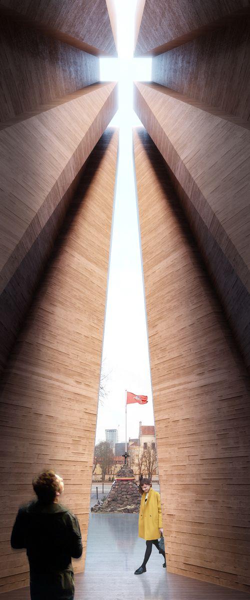 Nacionalinės premijos laureato architekto Audriaus Ambraso Laisvės paminklo projektinis pasiūlymas. Aukų gatvė, Vilnius, 2018 sausis.