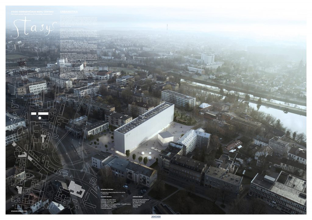 """Projektas-nugalėtojas (kodas 200300). Architektai: Aurimas Syrusas, Greta Šidlauskaitė ir Ričardas Bertašius (""""Syrusas"""" MB aka """"Implmnt Architects"""")"""