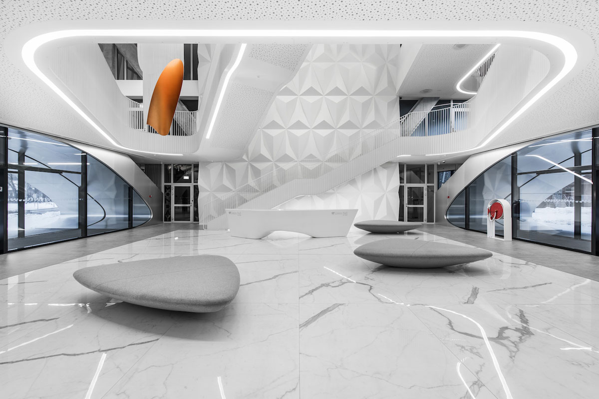 """Speciali kompanijos """"Knauf Vokietija"""" nominacija – vestibiulio projektą biurų pastate """"Green Hall 2"""" (E.Šimeliūnas, G.Šveikauskas, R.Paternina)"""