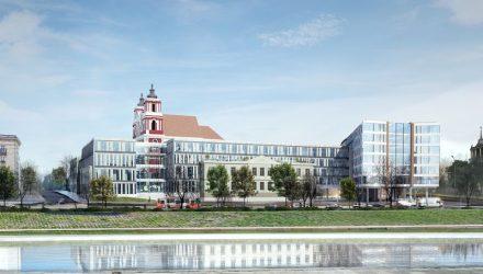 """iešbučio su konferencijų centru ir biurais prie Šv. apaštalų Jokūbo ir Pilypo bažnyčios bei Lukiškių dominikonų vienuolyno ankstesnis projektas (Vizualizacija """"PLH Arkitekter"""") buvo kritikuojamas architektų, paveldosaugininkų ir visuomenės"""