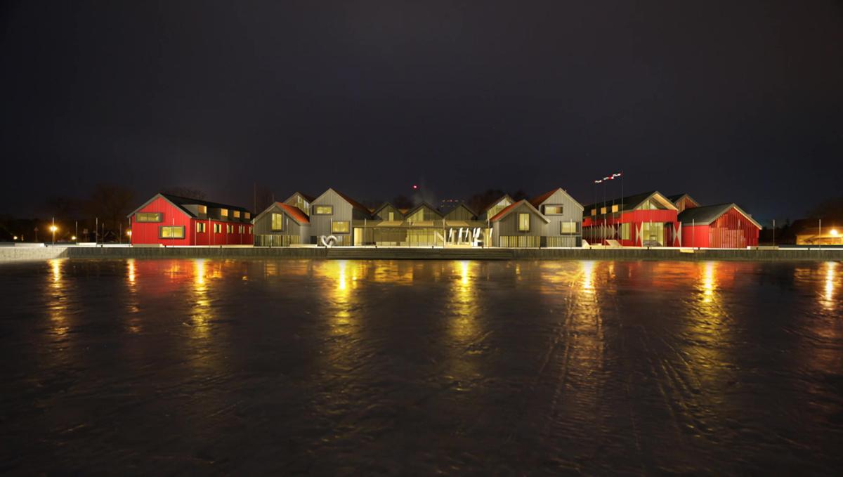 """Netrukus prasidės """"Radisson SAS Blue"""" 5 žvaigždučių viešbučio vietoj buvusiu žvejybos įmonės sandėlių statyba Nidoje. Architektai: Algimantas Kančas, Kęstutis Kajokas, Tomas Petreikis, Gustė Kančaitė"""