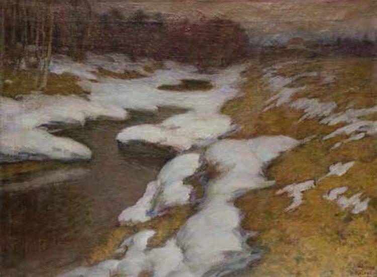 """""""Peizažas su upeliu"""", P. Kalpokas (1880–1945)"""