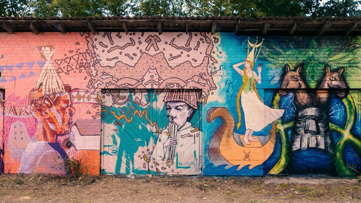 Sienų tapyba Zarasuose. Foto: Žilvinas Danys