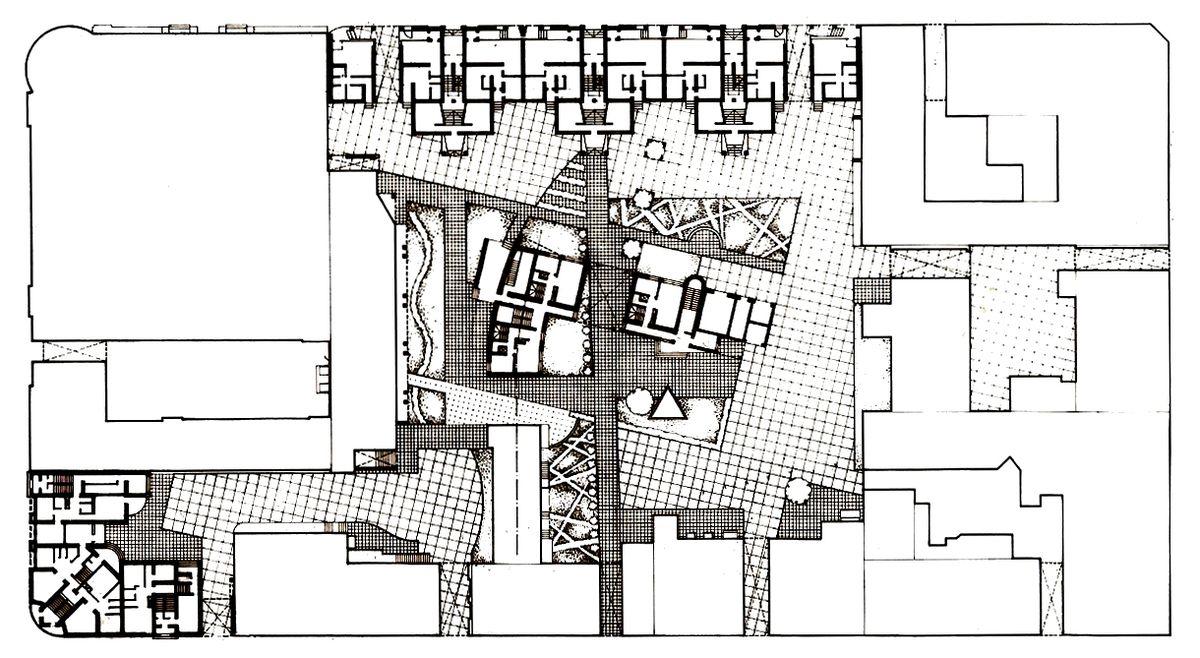Kauno Naujamiesčio kvartalo tarp Maironio g., K.Donelaičio ir Vasario 16-osios g. projektas (arch. G.Natkevičius, V.Kuliečius, A.Kaušpėdienė; 1986 m.).