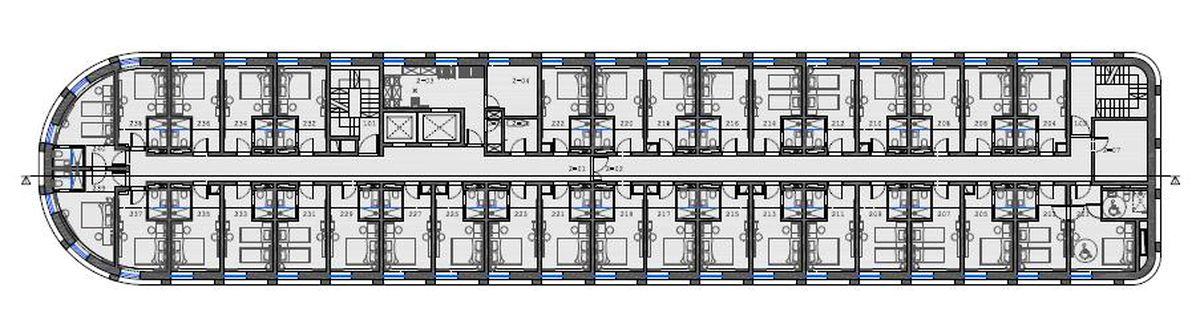 75 numerių viešbutis (arch. G.Natkevičius, A.Natkevičiūtė, P.Narauskas, A.Rimšelis; 2018 m.). 2 aukštas