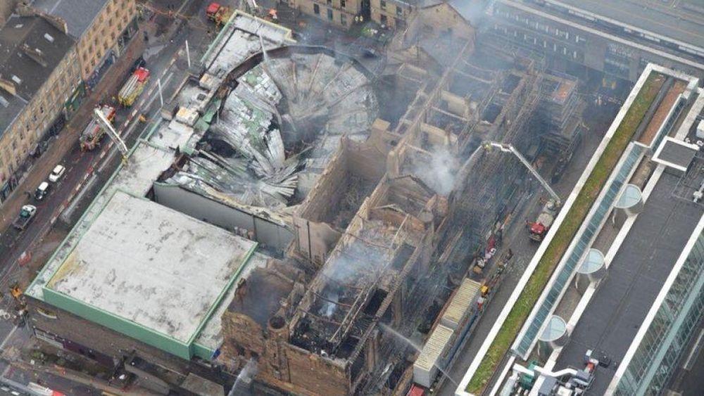 Glazgo meno mokykla po birželio mėn. gaisro. Foto: Škotijos policijos