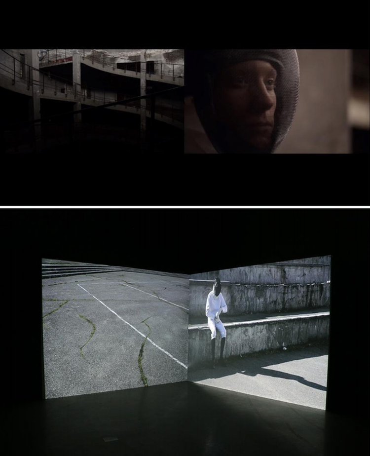 Dimensija / The Dimension. A clockwork humankind. (2016, dvikanalė video instaliacija, atmosferinis garsas, kilpa, 2'31), B.Kazlauskaitė-Bon Alog