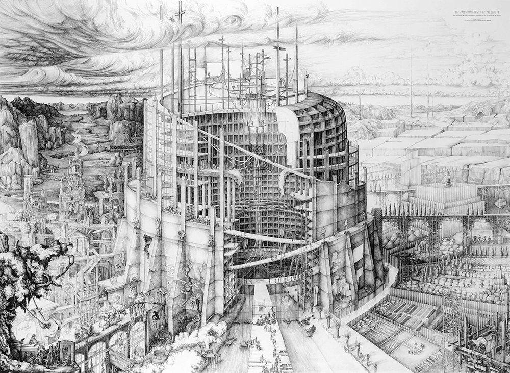 """Pav.: """"The Babylonian Tower of Modernity"""", Carlijn Kingam, Piešinio ranka kategorijos 1-oji vieta"""