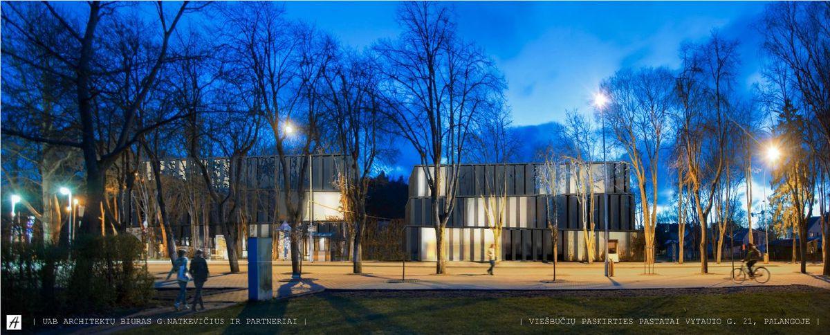 Pav.: Viešbučių paskirties pastato Vytauto g. 21, Palangoje projektiniai pasiūlymai (PV T.Jūras, arch. G.Natkevičius). Vaizdas iš S.Dariaus ir S.Girėno gatvės