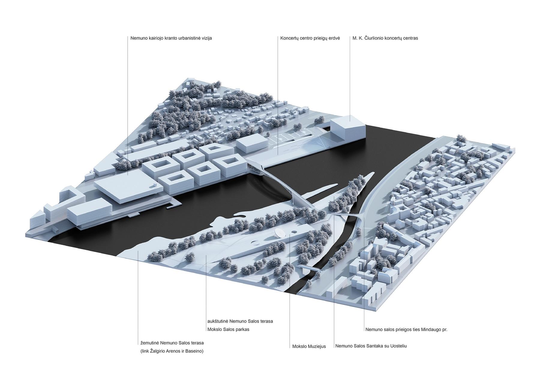 """Urbanistinė aksonometrija - vaizdas iš šiaurės rytų pusės. (""""KILD architektai"""", """"TEC Infrastructure"""")"""
