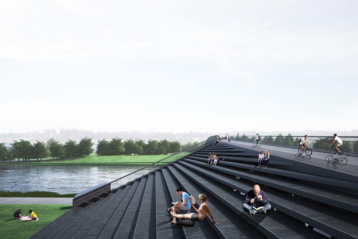 """Vaizdas į tilto atramos amfiteatrą (""""KILD architektai"""", """"TEC Infrastructure"""")"""