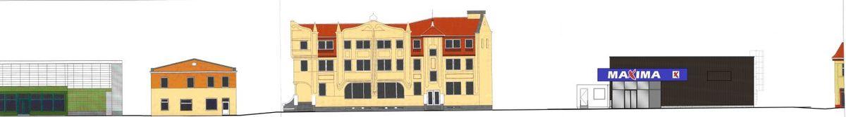 """Parduotuvės rekonstrukcija Šilutėje (autorius: O.Jankauskas, vizualizacijos UAB """"TS Projects"""")"""