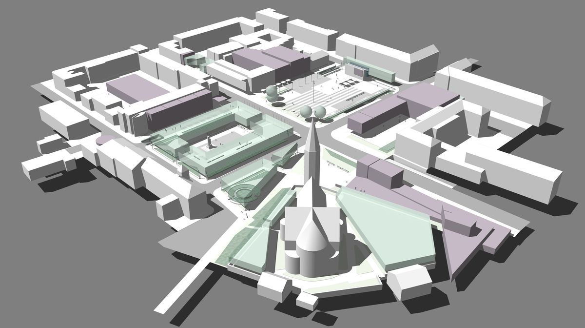 Prisikėlimo aikštės rekonstrukcijos projektas su paminklo vieta (raudona vertikalė). (Architektas Vytenis Rudokas, 2016 m.)