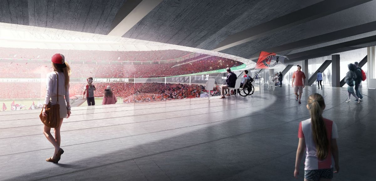 """""""Feyenoord"""" stadiono viešoji erdvė (arch. D.Gianotten bei K. van Casteren, S.Takagi; OMA)"""