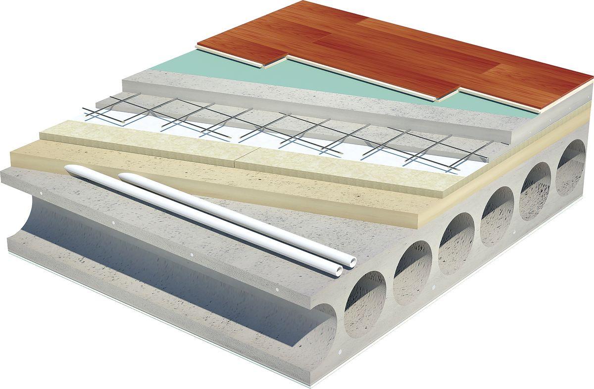 Gelžbetoninių perdangų garso izoliavimui tarp perdangos ir grindų dangos vienas geriausių sprendimų - speciali smūgio garso izoliacijos plokštė PAROC SSB1.