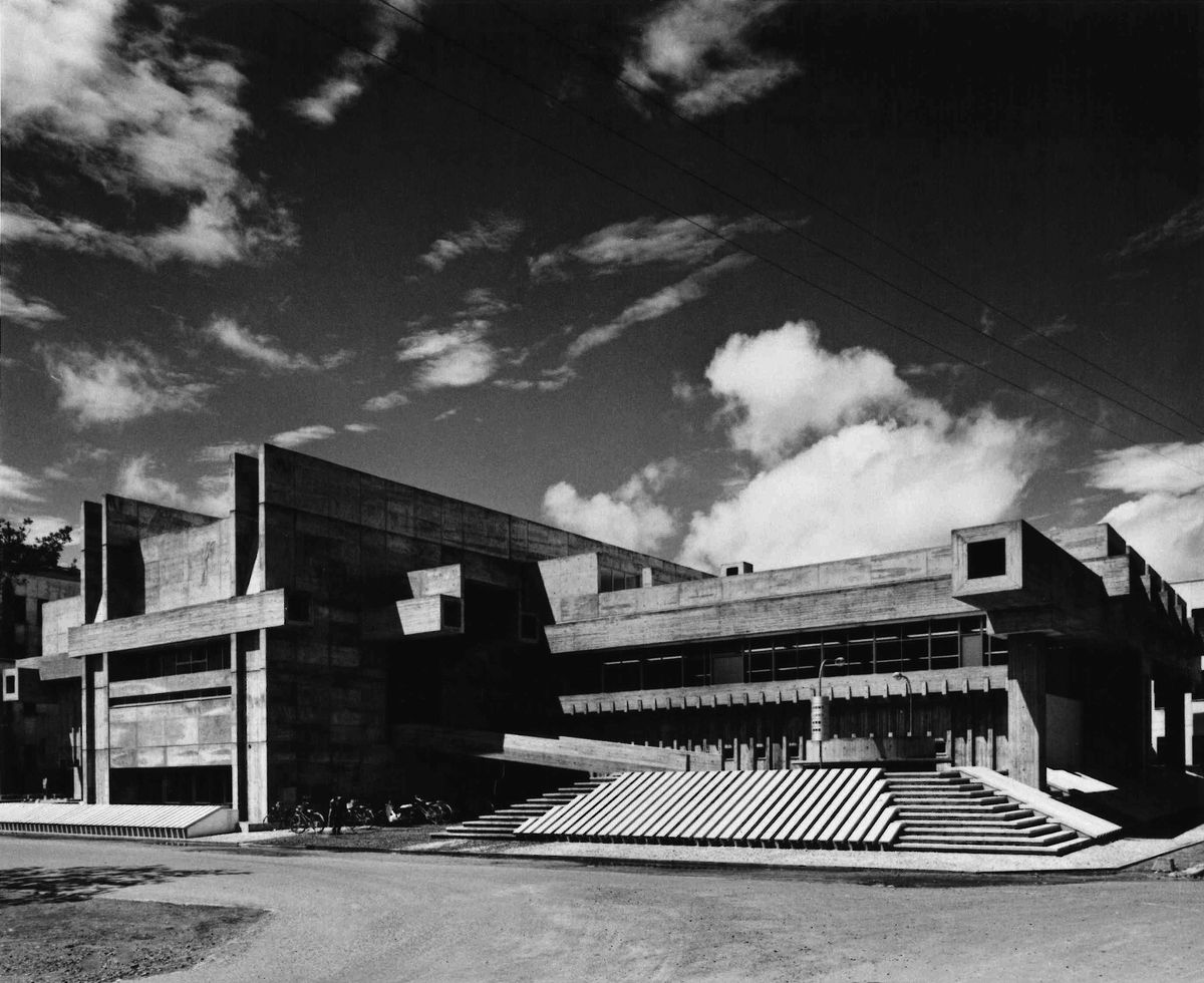 "Ōita prefektūros biblioteka (1966 m.), arch.""Arata Isozaki & Associates"". Foto: Yasuhiro Ishimoto"