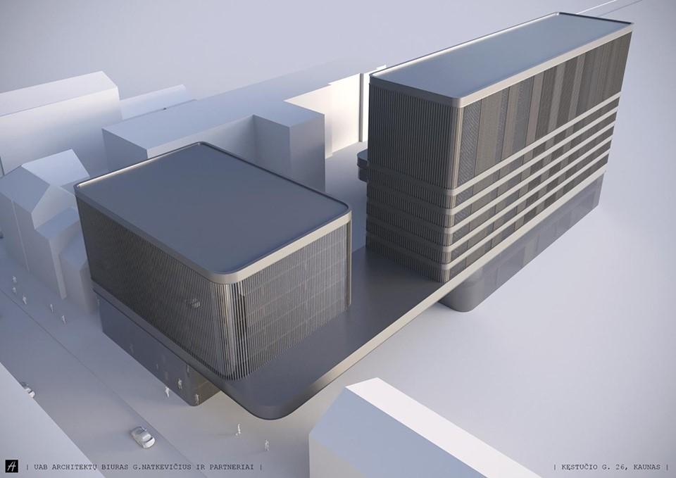 """Ankstesnis bendrovės """"K26"""" viešbučio, konferencijų salės ir nuomojamų biurų komplekso projektas (arch. """"Architektų biuras G.Natkevičius ir partneriai"""") buvo kritikuojamas dėl nesilaikomų atstumų bei nekontekstualios anemiškos architektūros"""