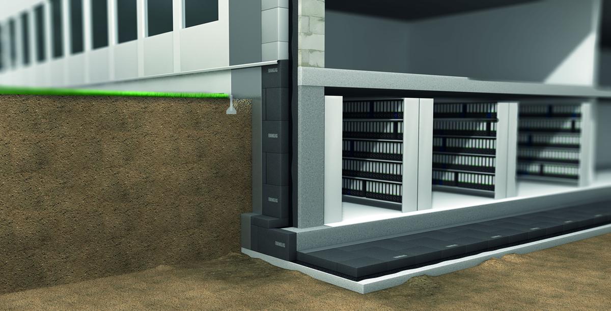 Foamglas požeminių sienų ir grindų konstrukcijose