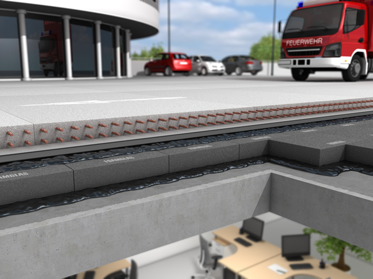 Foamglas sunkaus transporto stogo terasoje