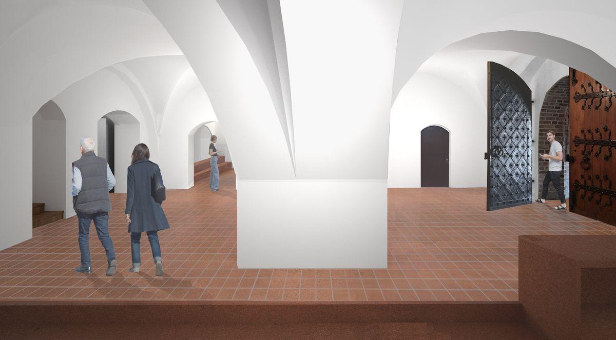 Pirmas aukštas, pagrindinis holas (vizualizacija)