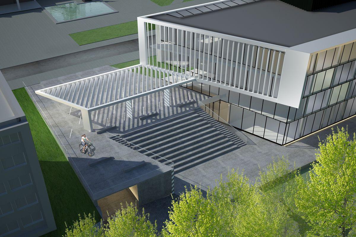 """KTU """"M-Lab"""" konkursinis projektas """"Terasa į parką"""" (UAB """"Kančo studija""""; arch. G.Kančaitė, T.Petreikis, I.Šalomskienė, E.Rutkauskaitė), 2-oji vieta, 7.000 Eur premija"""