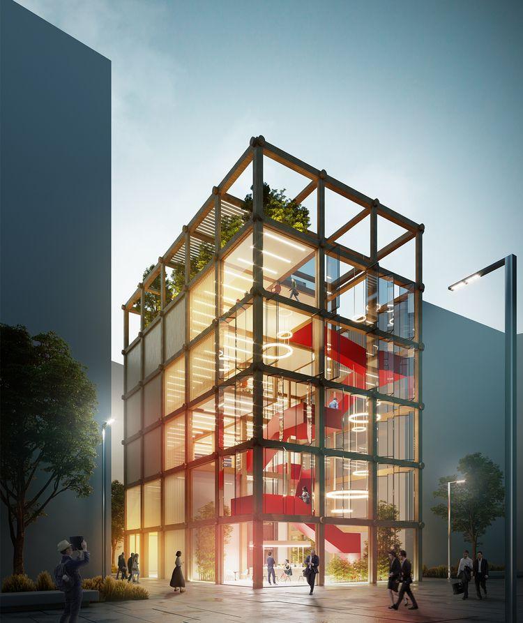 """Hibridinės aplinkos prototipas biurų pastatams MO(O)D (arch. """"SOS School of Sustainability"""", Kinija)"""