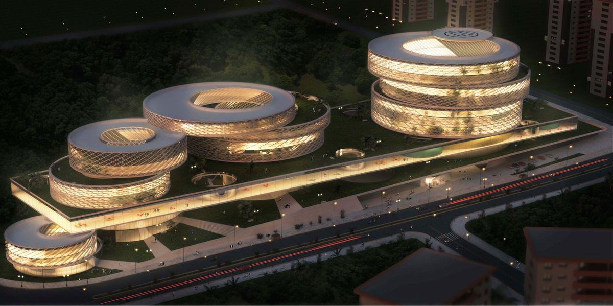 """Pars medicinos ir sveikatos centras (Iranas, arch. """"New Wave Architecture Studi"""")"""
