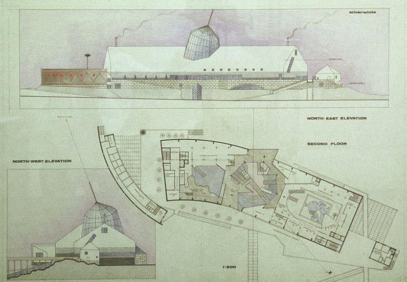 Arkties centro Rovaniemyje (Suomija) premijuotas konkursinis projektas. Architektas Vilen Kunnapu ir kiti, 1984
