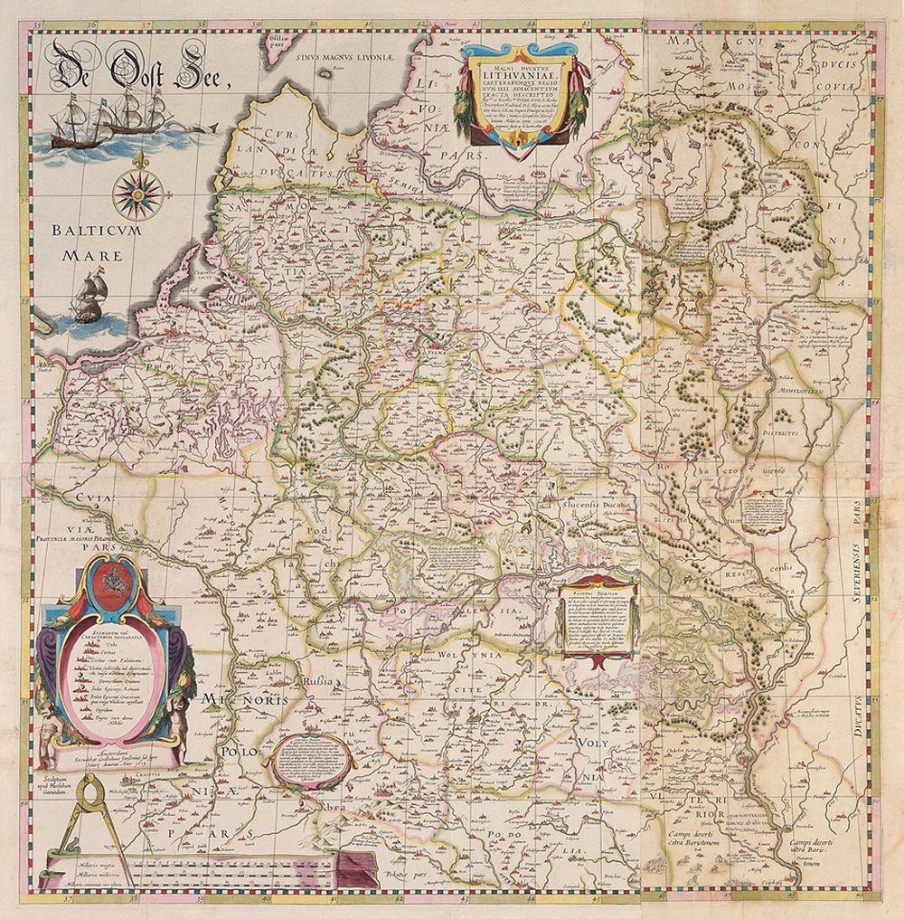 Radvilos Našlaitėlio LDK žemėlapis, 1613 m. Iš Viliaus Kavaliausko kolekcijos