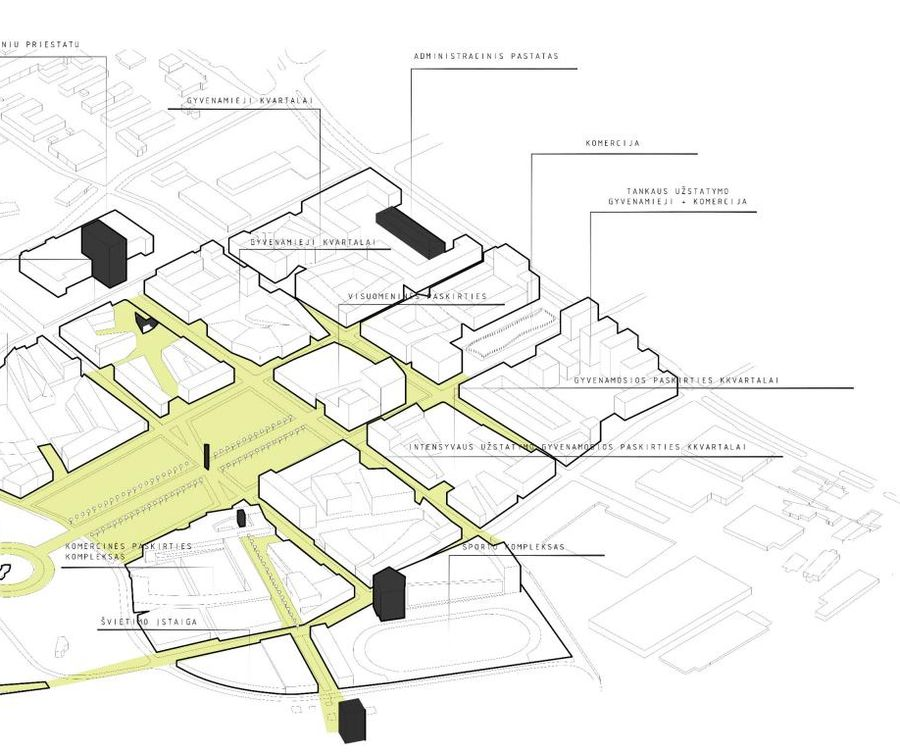"""2015 metais 30 ha Teritorijos Aukštojoje Fredoje urbanistinį konkursą laimėjo daugiafunkcę plėtrą siūlęs projektas, tačiau Kauno valdžia joje nusprendė plėtoti gamybą. Projekto devizu """"Pietums metas"""" (arch. J.Juzėnas, T.Kudzmanas, R.M.Preikšienė, S.Gudas; MB """"Archcentras"""") fragmentas, 1-oji vieta"""
