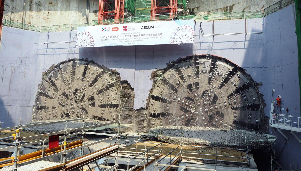 """Tunelis į Honkongo salą Tuen-Mun Chek lap Kok Kinijoje (inž. firmos: AECOM; DBJV; ARUP; ATKINS ir """"Golder""""), Geriausias 2019 metų Didysis tuneliavimo projektas (per 500 mln. Eur kategorija). Foto: """"Herrenknecht"""""""