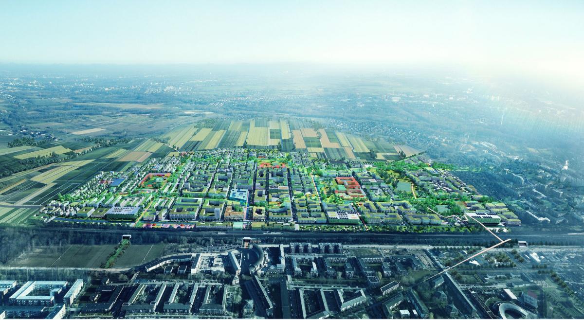 """Projektas """"The Connected City"""" Hamburgo priemiestyje (arch. ADEPT ir KARRES EN BRANDS su """"Transsolar"""", """"Büro Happold"""" ir """"Kraft""""), Geriausias 2019 metų ateities projektas"""