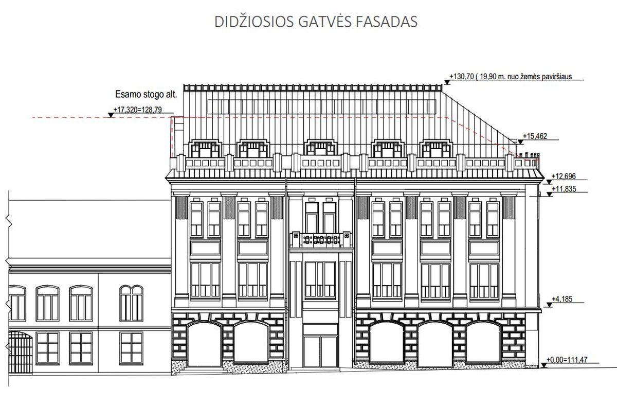 Administracinio pastato Didžioji g. 18 rekonstravimo projektiniai pasiūlymai (autoriai: archi. K.Pempė, V.Lukoševičius ir I.Sirijitavičiūtė).