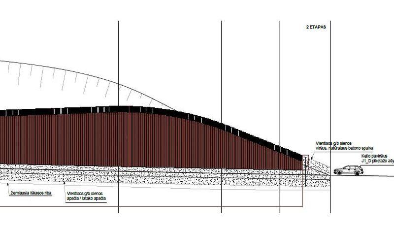 """Magistralinio kelio A1 ruožo nuo 100,47 iki 101,79 km atraminės sienutės apdailos fragmentas (arch. M.Mickevičius, konstr. V.Šadauskas; """"Kelprojektas"""")"""