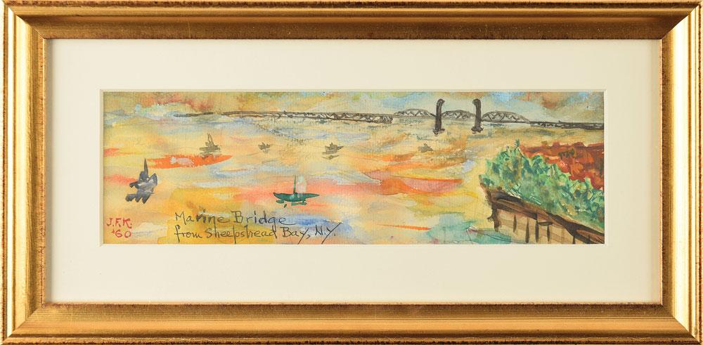 """Jūros tiltas ir Sheepsheado įlanka, Dž. F. Kenedis, 1960 m. Pav.: Ronnie Paloger ir """"RR Auction"""" nuosavybė."""