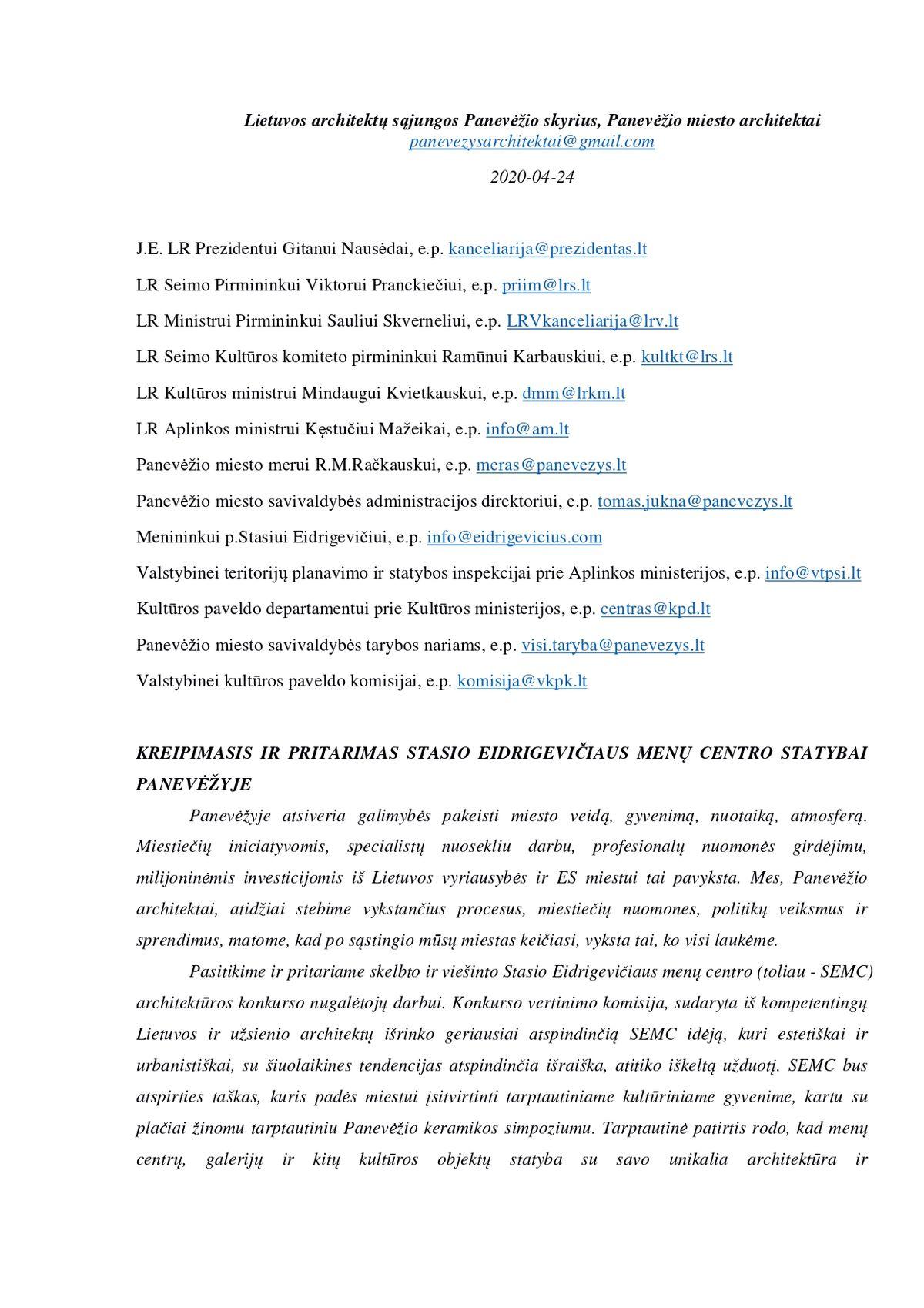 Panevėžio architektų Kreipimasis dėl paramos SEMC projektui (faksimilė)